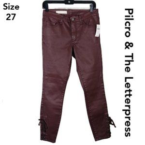 Pilcro Coated Skinny Jeans with Lace Up Ankles